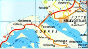 landkaart met Haringvlietdam